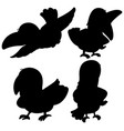 set toucan silhouette vector image vector image