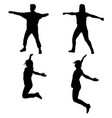 silhouette of young people jumping with hands up vector image vector image