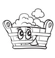 sketch cartoon pelvis character with lush foam vector image vector image