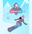 snowboarding of a female character vector image vector image
