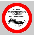 Sticker with Warning sign insect icon centipede vector image vector image