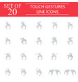 touch gestures line icon set hand and finger sign vector image vector image