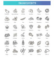 vegetables and fruit thin line icon set vector image vector image