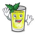 waving mint julep character cartoon vector image