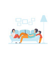 young mother lying on sofa and working on laptop vector image vector image