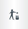 recycling trash bin man symbol garbage icon vector image