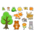 Woodland Animals and Cute Forest Design Elements vector image
