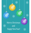 Christmas card with balls Happy New Year and vector image