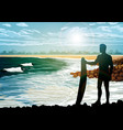 surf silhouettes on the beach vector image