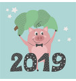 a cute pig keeping green fir tree vector image vector image
