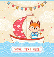 a fox sails on festive sailboat by the sea vector image