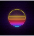 abstract neon sun sign 80s retro sunset vector image vector image