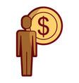 businessman dollar coin money symbol vector image
