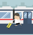 businesswoman running and missed the train vector image vector image