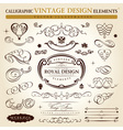 Calligraphic elements vintage ornament set vector vector image