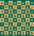 christmas green and yellow seamless tile pattern vector image