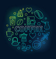 coffee round colored on dark vector image vector image