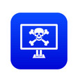 computer monitor with a skull and bones icon vector image vector image
