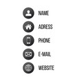 contact communication icons for business card web vector image vector image