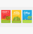ecology information cards set ecological template vector image vector image