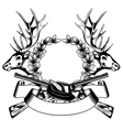 elk heads crossed rifle hat and oak wreath