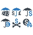 Financial Umbrella Flat Icons vector image