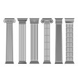 greek and roman columns set vector image vector image