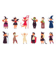 halloween party characters costume friends vector image