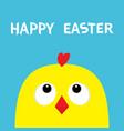 happy easter sign symbol chicken head face big vector image vector image