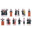 happy graduate students college graduates vector image