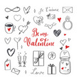 happy valentines day doodle set vector image