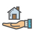 home in hand filled outline icon business finance vector image vector image