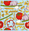 italian pasta and vegetables seamless pattern vector image vector image