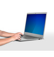 laptop is gray hands on keyboard vector image vector image