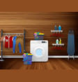 laundry room interior with washing machine vector image vector image