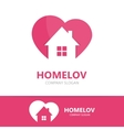 logo combination a heart and house vector image