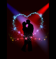 lovers inside sparkling heart vector image vector image