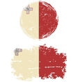 Maltese round and square grunge flags vector image vector image