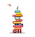 man with flag on books pile with helicopter on vector image vector image