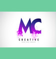 mc m c purple letter logo design with liquid vector image vector image