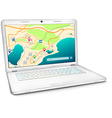 Modern laptop with city map on display vector image vector image