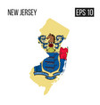 new jersey map border with flag eps10 vector image