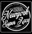 newyork typography vintage motorcycle t-shirt vector image vector image