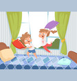 pillow game kids in children room jumping on bed vector image vector image