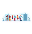 queue to elevator office people line public place vector image