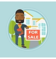 Real estate agent offering house vector image vector image