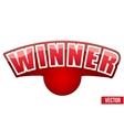 Red Label with white letters in the word winner vector image vector image