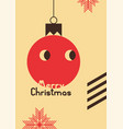 retro christmas card design with cartoon ball vector image