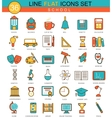 School flat line icon set Modern elegant vector image