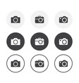 set 3 simple design photo camera icons rounded vector image
